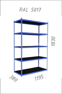 Стеллаж металлический Gama Box 1195Wx380Dx1830H мм, 5 полок/0164PE антрацит, RAL5017