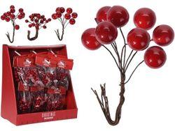 Набор 3 веток красных ягод мелких