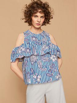 Блуза RESERVED Синий/белый