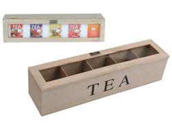 Cutie pentru ceai,5 sectiuni, 38X9X9cm, din lemn