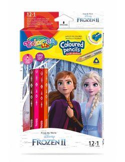 Набор цветных карандашей + 1 карандаш с 2 цветами серебро / золото - Colorino Dinsey Frozen