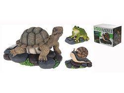 Черепаха, лягушка, улитка декоративные на камне 19cm