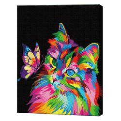 Motan și fluture colorat, 40х50 cm, pictură pe numere Articol: GX37009