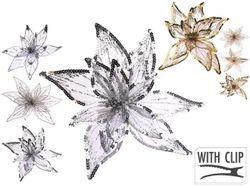 Украшение елочное Цветок 20X20X4cm, полиэстер, 2 цвета, 3 ди