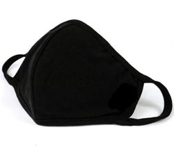 Многоразовая защитная маска из 100% хлопка, 2 слоя, черная