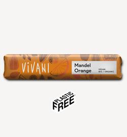 Ciocolată cu mendală și portocală și lapte de orez Vivani 40g