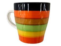 Cana 225ml D8.5, H9cm, con cu dungi diverse culori, din ceramica