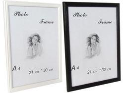 Rama foto din lemn 21X30cm, A4, alba/neagra