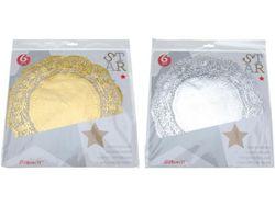 Servetelе de servire din hirtie auriu, argintiu 6buc, D28cm