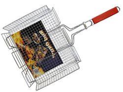 Решетка для гриля BBQ 38X39cm, с деревянной ручкой