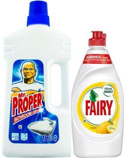 cumpără Produs de curățat Mr.Proper 7750/1697 BATHROOM GEL 1L + Fairy Lemon 450 ML în Chișinău