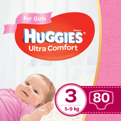 Подгузники для девочек Huggies Ultra Comfort 3 (5-9 kg), 80 шт.