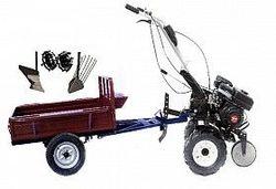 Set motocultivator TECHNOWORKER HB 700S+ Remorca RK500 + plug simplu + plug cartofi + roti metalice 4*8