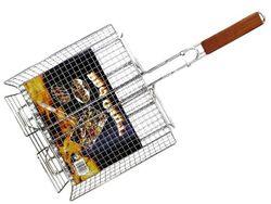 Plasa pentru gril BBQ 23X30cm, cu maner din lemn