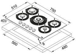 Plită incorporabilă cu gaz Franke FHMF 755 4G DC C WH