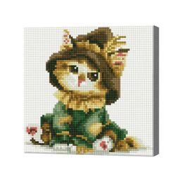 Котенок-путешественник, 20x20 см, алмазная мозаика