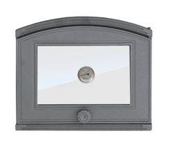 Дверца чугунная со стеклом и термометром правая DP2T