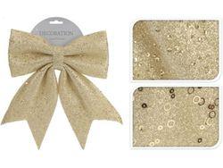 Бант декоративный 23X29сm, золотой с блетсками