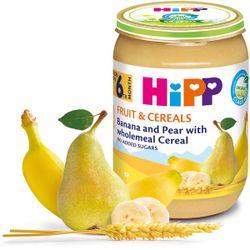 Piure de banane, pere cu cereale integrale Hipp (6 luni+), 190g