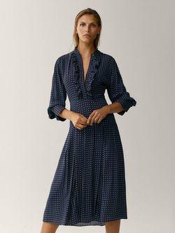 Платье Massimo Dutti Темно синий с принтом 6611/832/407