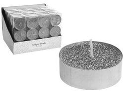 Свечи чайные c гллитером 3шт, 36g, серебрянный