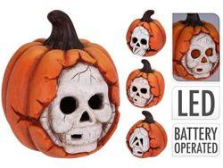 Сувенир тыква с черепом, LED 16Х14Х14cm, керамика