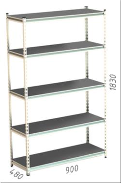 Стеллаж металлический Moduline 900x480x1830 мм, 5 полок/0112PE серый
