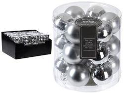 Set globuri 18X30mm 9mate, 9lucioase, argintii, in cilindru