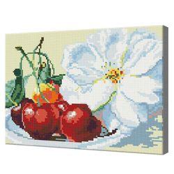 Черешня и цветы, 30x40 см, алмазная мозаика Артукул: QS200428