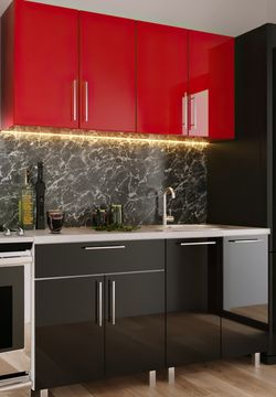 Кухонный гарнитур Bafimob Mini (High Gloss) 1.4m Red/Black