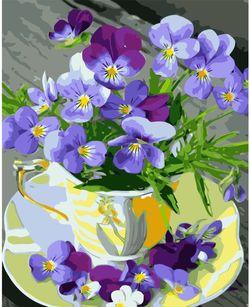Pictura pe numere 40x50 Cupa cu violete VA1338