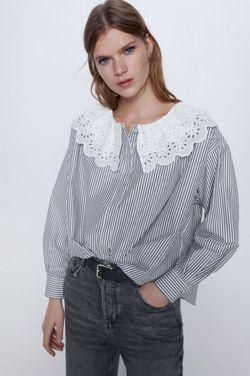 Блуза ZARA Белый в серую полоску 3666/069/096 zara