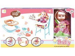Кукла, стул, кроватка, ходунки (роз горошек), 55.5X32X10cm