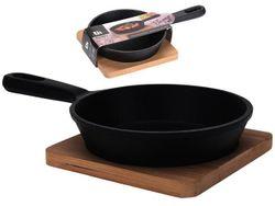 Сковорода EH 12.5cm чугунная и деревянная подставка H3cm
