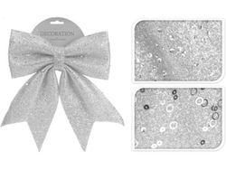 Бант декоративный 23X29сm, серебряный с блетсками