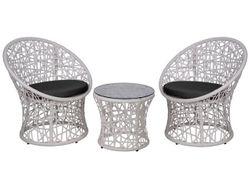 Комплект плетеной мебели: столик и 2 кресла, белые