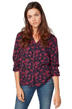 Блуза TOM TAILOR Темно синий с принтом 1015008