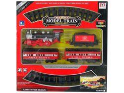 Set calea ferata 86cm, tren+vagoane cu pasageri 4XAA