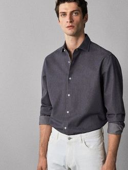 Рубашка Massimo Dutti Темно серый 0122/022/801