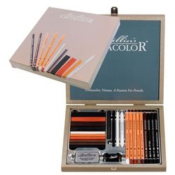 Set artistic, 25 de articole într-o cutie de lemn Cretacolor