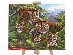 Pictura pe numere 30x40 Familia tigri