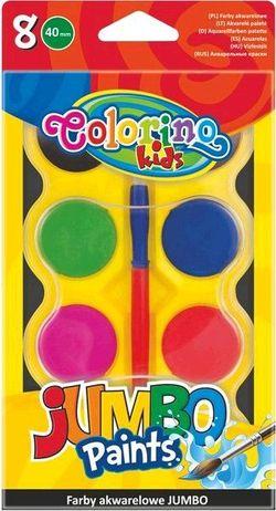 Акварельные  краски 8 цв +кисточка Jumbo Colorino