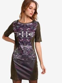 Rochie Smash Khaki cu imprimeu MERCAT DRESS SMASH