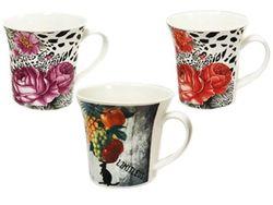 Чашка 280ml фрукты/цветы, керамика