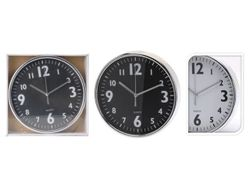 Часы настенные круглые 20cm, цвет черный/белый