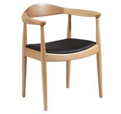Деревянный стул с черным кожаным сидением, 670x610x840 мм