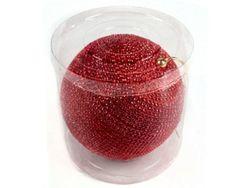 Glob pentru brad din margele 200mm, rosu
