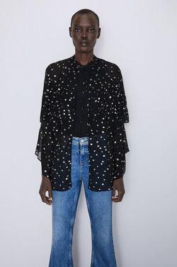 Блуза ZARA Чёрный в горошек 4437/245/800