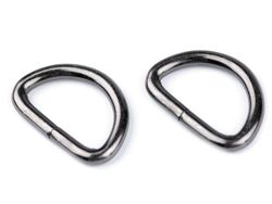 Metal D-ring width 32 mm, black nickel
