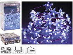 Огни новогодние Звезды 20 microLED, 1m, 2XAA, белые